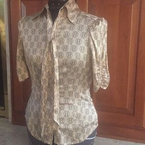 Gold silk bebe small short sleeve